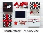 elegant nordic retro christmas  ... | Shutterstock . vector #714327922