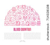 blood donation concept in half... | Shutterstock .eps vector #714328108