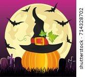 halloween. pumpkin in witch hat ... | Shutterstock .eps vector #714328702