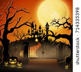 vector illustration of creepy... | Shutterstock .eps vector #714335398