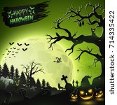 halloween night background with ... | Shutterstock . vector #714335422