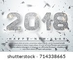 2018 happy new year. silver...   Shutterstock .eps vector #714338665