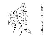 stylized flower in black lines... | Shutterstock .eps vector #714341092