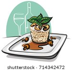 illustration of risotto on plate | Shutterstock . vector #714342472