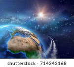 space travel. spaceships or... | Shutterstock . vector #714343168