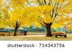 autumn in gyeongbokgung palace... | Shutterstock . vector #714343756