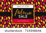 autumn sale. discount in fall.... | Shutterstock .eps vector #714348646