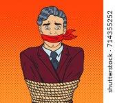 pop art stressed businessman... | Shutterstock .eps vector #714355252