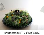 Small photo of All Souls' Day / Autumn wreath with rowanberries