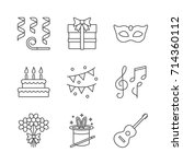 holiday accessories linear... | Shutterstock .eps vector #714360112