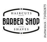 barber shop vintage stamp logo... | Shutterstock .eps vector #714362875