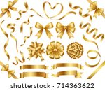 A set of various gold vector ribbons. | Shutterstock vector #714363622