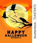 happy halloween poster with... | Shutterstock .eps vector #714373372