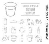 milk set icons in outline style.... | Shutterstock .eps vector #714374008
