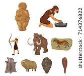 stone age set icons in cartoon... | Shutterstock .eps vector #714376822