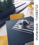 drak grey table and yellow... | Shutterstock . vector #714383722