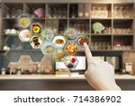 customer use ar application to... | Shutterstock . vector #714386902