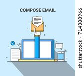 compose email  newsletter ... | Shutterstock .eps vector #714388966