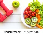 healthy food lifestyle for... | Shutterstock . vector #714394738