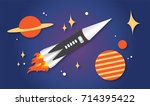 flat rocket | Shutterstock . vector #714395422