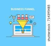 business funnel  conversion ...   Shutterstock .eps vector #714395485