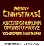 merry christmas with golden... | Shutterstock .eps vector #714410932