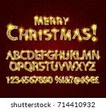 merry christmas with golden... | Shutterstock .eps vector #714410932