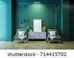 luxury modern living  interior... | Shutterstock . vector #714415702
