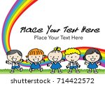 kids with rainbow background... | Shutterstock .eps vector #714422572