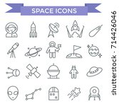 space icons  thin line  flat... | Shutterstock .eps vector #714426046