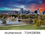 denver skyline across city park ... | Shutterstock . vector #714428086