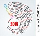 2018 calendar print template... | Shutterstock .eps vector #714428506