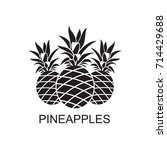 black image of pineapple... | Shutterstock .eps vector #714429688