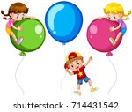 three kids with big balloons... | Shutterstock .eps vector #714431542