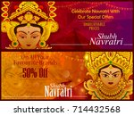 beautiful face of goddess durga ... | Shutterstock .eps vector #714432568