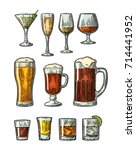 set glass beer  whiskey  wine ... | Shutterstock .eps vector #714441952