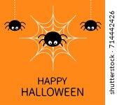 happy halloween card. spider on ... | Shutterstock . vector #714442426