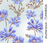 delicate blue flowers on a... | Shutterstock .eps vector #714448426