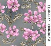gentle romantic seamless... | Shutterstock .eps vector #714448456