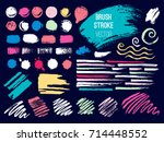 set brush stroke. brush  pen ... | Shutterstock .eps vector #714448552