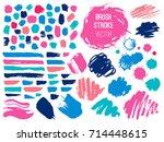 set brush stroke. brush  pen ...   Shutterstock .eps vector #714448615