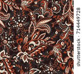 paisley seamless pattern with... | Shutterstock .eps vector #714449728