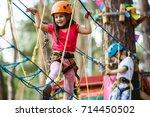 little beautiful girl climbs on ... | Shutterstock . vector #714450502