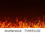 blaze fire flames with sparks... | Shutterstock .eps vector #714451132