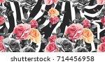 roses seamless pattern on zebra ... | Shutterstock .eps vector #714456958