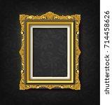gold vintage picture frame on... | Shutterstock .eps vector #714458626
