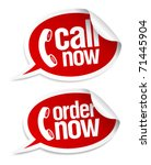 Call now stickers in form of speech bubbles. - stock vector