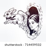 hand drawn beautiful portrait... | Shutterstock .eps vector #714459532
