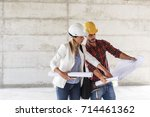 female inspector and architect... | Shutterstock . vector #714461362