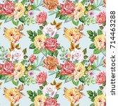 roses pattern.watercolor | Shutterstock . vector #714463288